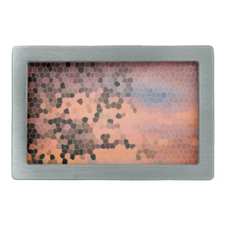 Stained Glass Beautiful Sunset Tree Silhouette Rectangular Belt Buckle