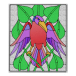 Stained Glass Bird Poster