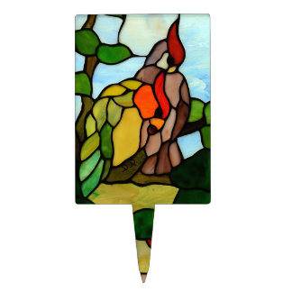 Stained Glass Birds Cake Topper