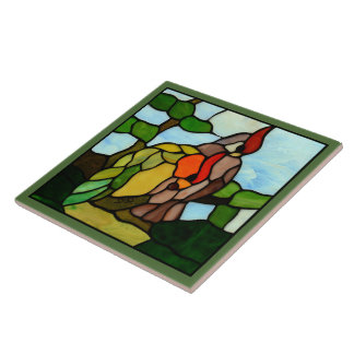 Stained Glass Birds Ceramic Tile