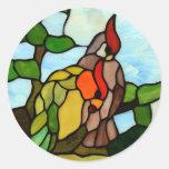 Stained Glass Birds Classic Round Sticker