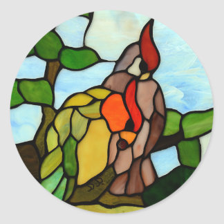 Stained Glass Birds Classic Round Sticker