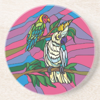 Stained glass birds colorful parrots drink coaster