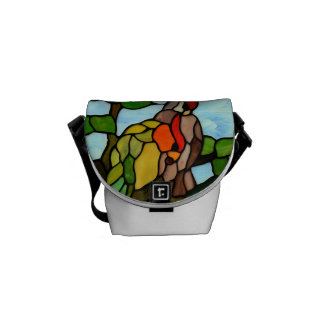 Stained Glass Birds Courier Bag