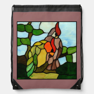 Stained Glass Birds Drawstring Backpack
