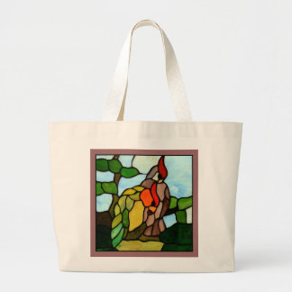 Stained Glass Birds Large Tote Bag