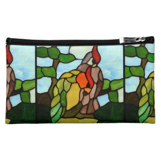 Stained Glass Birds Makeup Bag