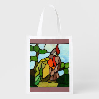Stained Glass Birds Market Totes