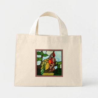 Stained Glass Birds Mini Tote Bag