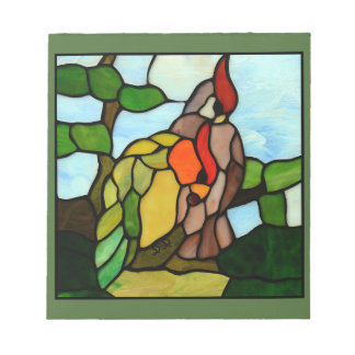 Stained Glass Birds Notepad