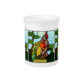 Stained Glass Birds Drink Pitchers
