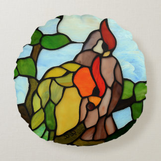 Stained Glass Birds Round Pillow