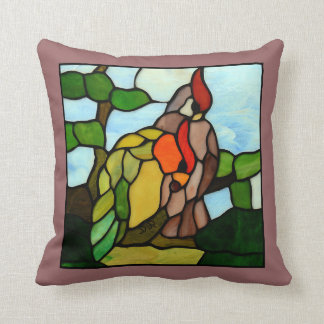 Stained Glass Birds Throw Pillow