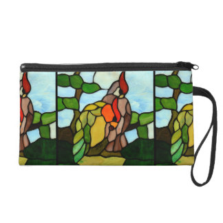 Stained Glass Birds Wristlet Purse