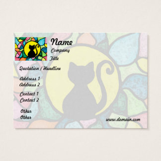 Stained Glass Black Cat Business Card