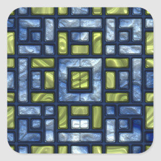 STAINED GLASS BLUE & GREEN SQUARE STICKER