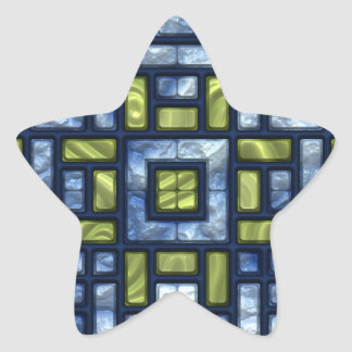 STAINED GLASS BLUE & GREEN STAR STICKER