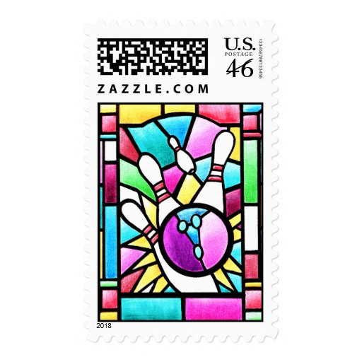 Stained Glass Bowling Postage Stamps