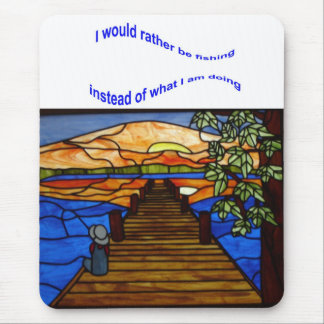 Stained Glass Boy Fishing Mouse Pad