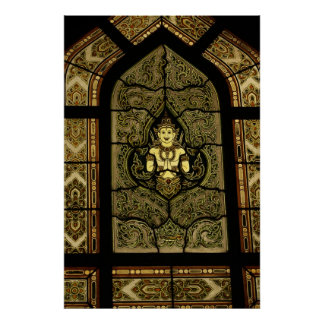 Stained Glass Buddha Poster