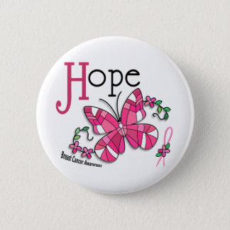 Stained Glass Butterfly 1 Breast Cancer Button
