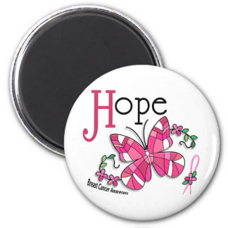 Stained Glass Butterfly 1 Breast Cancer Magnet