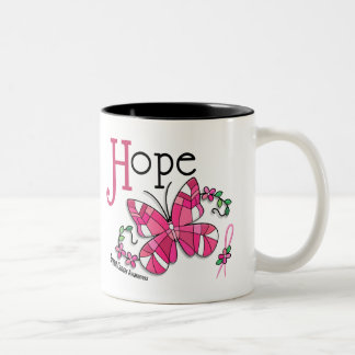 Stained Glass Butterfly 1 Breast Cancer Two-Tone Coffee Mug