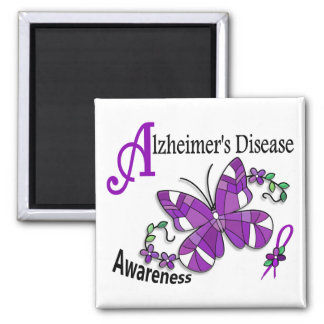 Stained Glass Butterfly 2 Alzheimer's 2 Inch Square Magnet