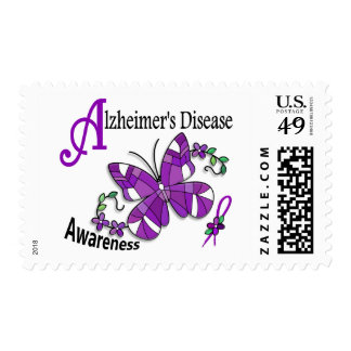 Stained Glass Butterfly 2 Alzheimer's Postage Stamp