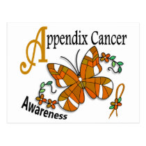 Stained Glass Butterfly 2 Appendix Cancer Postcard