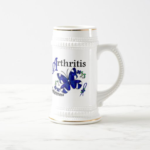 Stained Glass Butterfly 2 Arthritis 18 Oz Beer Stein