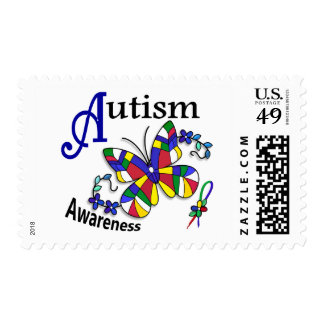 Stained Glass Butterfly 2 Autism Postage