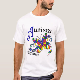 Stained Glass Butterfly 2 Autism T-Shirt