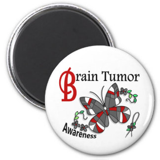 Stained Glass Butterfly 2 Brain Tumor 2 Inch Round Magnet