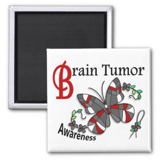 Stained Glass Butterfly 2 Brain Tumor 2 Inch Square Magnet