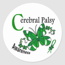 Stained Glass Butterfly 2 Cerebral Palsy Classic Round Sticker