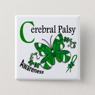 Stained Glass Butterfly 2 Cerebral Palsy Pinback Button