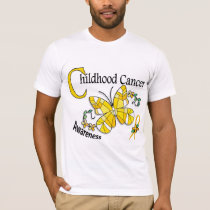Stained Glass Butterfly 2 Childhood Cancer T-Shirt