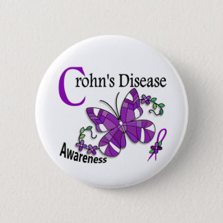 Stained Glass Butterfly 2 Crohn's Disease Button