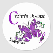 Stained Glass Butterfly 2 Crohn's Disease Classic Round Sticker