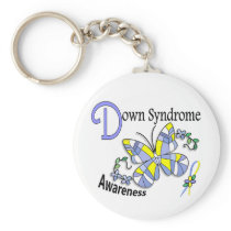 Stained Glass Butterfly 2 Down Syndrome Keychain