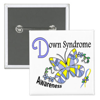 Stained Glass Butterfly 2 Down Syndrome Pin