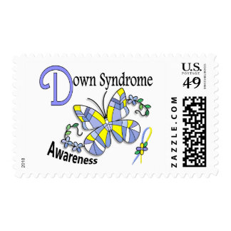 Stained Glass Butterfly 2 Down Syndrome Postage Stamps