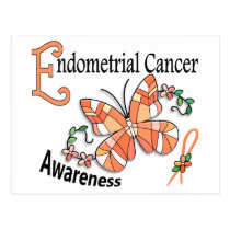 Stained Glass Butterfly 2 Endometrial Cancer Postcard