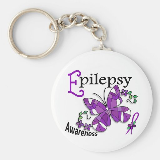 Stained Glass Butterfly 2 Epilepsy Basic Round Button Keychain