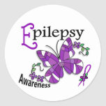Stained Glass Butterfly 2 Epilepsy Round Stickers