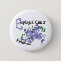 Stained Glass Butterfly 2 Esophageal Cancer Pinback Button