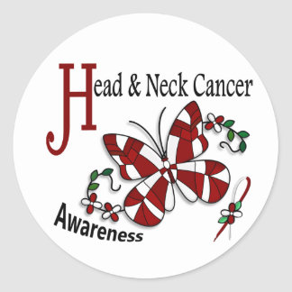 Stained Glass Butterfly 2 Head Neck Cancer Classic Round Sticker
