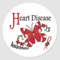 Stained Glass Butterfly 2 Heart Disease Classic Round Sticker