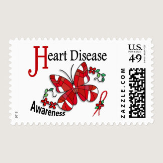 Stained Glass Butterfly 2 Heart Disease Postage